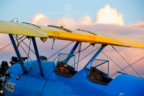 A PT-17 Stearman at sunset during the 2013 Arlington Fly-In.