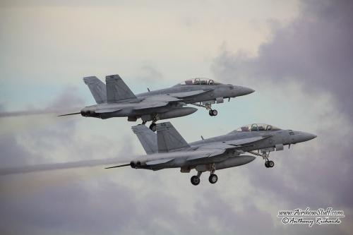 F/A-18F Super Hornets departing NAS Oceana during their 2014 air show.