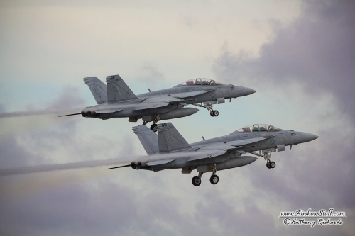 F/A-18F Super Hornets departing NAS Oceana during their 2014 air show.
