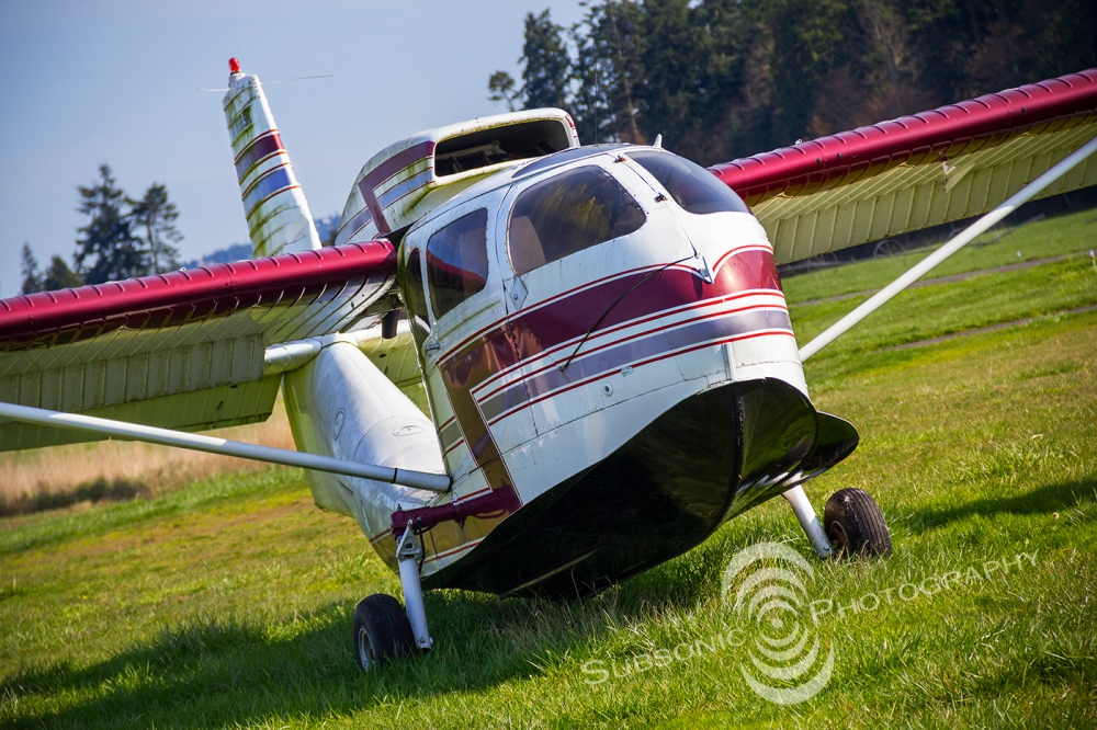 A Republic RC-3 Seabee sits derelict in the grass at W28.